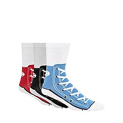 Debenhams - Pack of three assorted shoe print 'Silly Sneaker Socks'