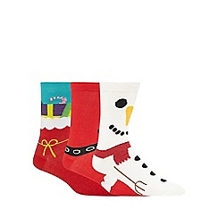 Debenhams - Pack of three assorted Christmas print 'Silly Socks'