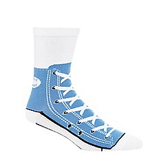 Debenhams - Silly Socks' blue shoe print socks