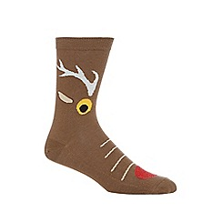 Debenhams - Silly Socks' brown reindeer print novelty socks