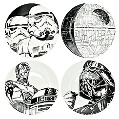 Star Wars - Set of 4 ceramic monochrome plates