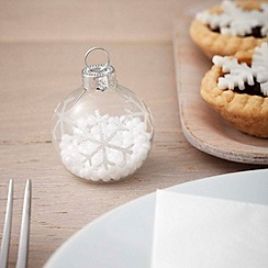 Ginger Ray - White Glass Snowflake Bauble Place Card Holder