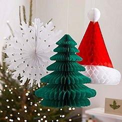 Ginger Ray - Red, White and Green Honeycomb Chrismtas Decorations