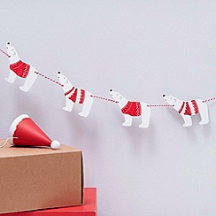 Ginger Ray - Red and White Wooden Polar Bear Bunting