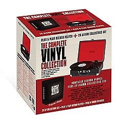 Debenhams - Turntable Black Portable Record Player and 20LP Vinyl Collection