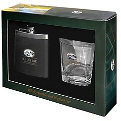 Golf Gifts - St Andrews whisker tumbler + hipflask set