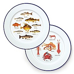Gift Republic - Sealife Enamel Plates Set Of 2
