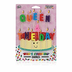 NPW - Multi coloured 'Queen for the day' birthday candles