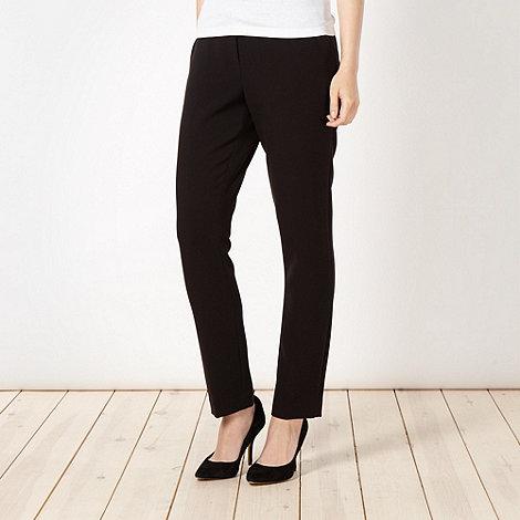 Betty Jackson.Black - Designer black crepe slim leg trousers