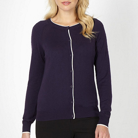 Betty Jackson.Black - Designer dark purple bobble textured cardigan