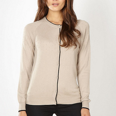 Betty Jackson.Black - Designer natural textured spot cardigan