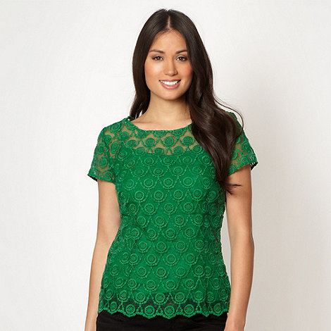 Betty Jackson.Black - Designer green embroidered lace shell top