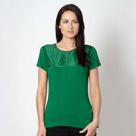Betty Jackson.Black - Designer green satin pleat front top