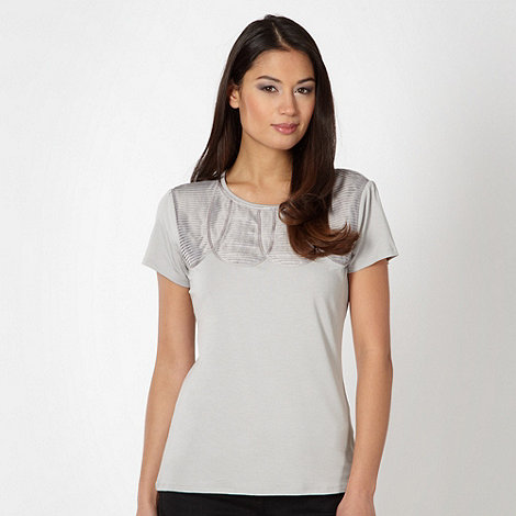 Betty Jackson.Black - Designer grey satin pleat top