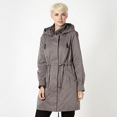 Betty Jackson.Black - Designer grey zip through mac coat