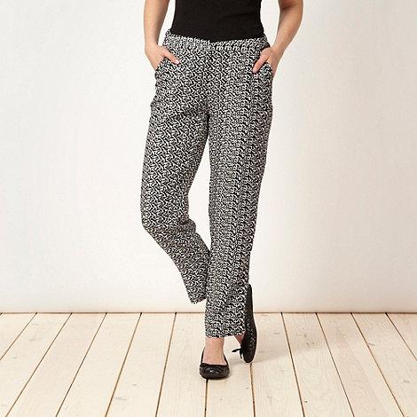 Betty Jackson.Black - Designer black leaf trousers