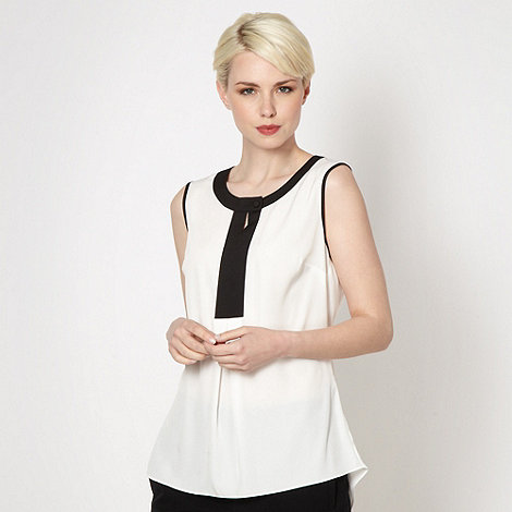 Betty Jackson.Black - Designer white colour block sleeveless top