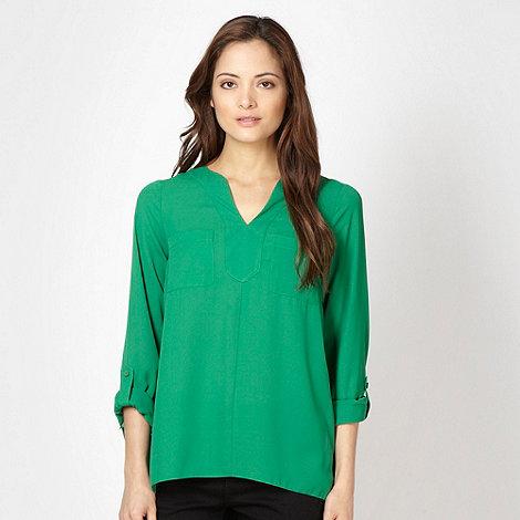 Betty Jackson.Black - Designer green collarless blouse
