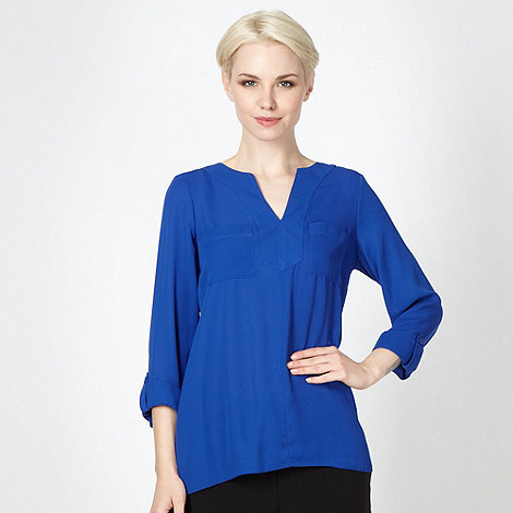 Betty Jackson.Black - Designer bright blue oversize shirt