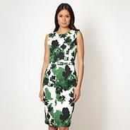 Designer green floral shift dress