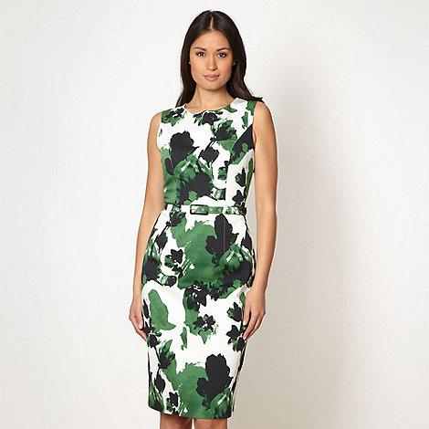 Betty Jackson.Black - Designer green floral shift dress