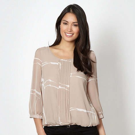 Betty Jackson.Black - Designer taupe windowpane checked top