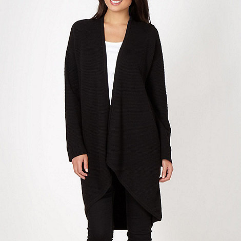 Betty Jackson.Black - Designer black longline textured knit cardigan
