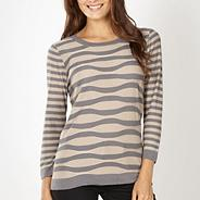 Designer grey wavy textured striped jumper