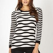 Designer black wavy textured striped jumper