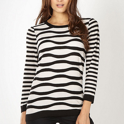 Betty Jackson.Black - Designer black wavy textured striped jumper
