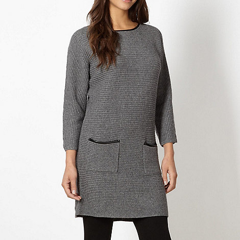 Betty Jackson.Black - Designer grey PU trim jumper