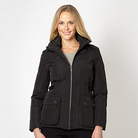Betty Jackson.Black - Designer black padded funnel neck jacket