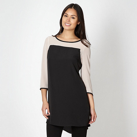 Betty Jackson.Black - Designer black colour block tunic top