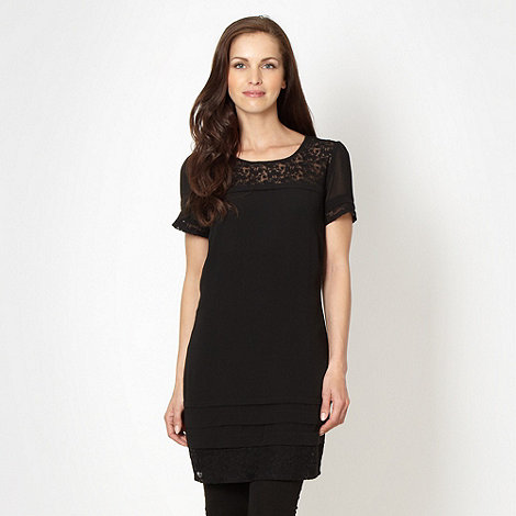 Betty Jackson.Black - Designer black pleated lace tunic top