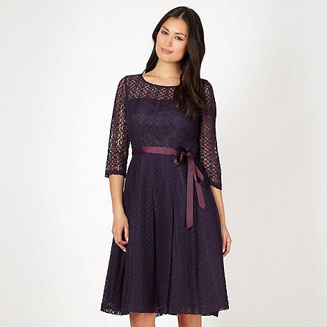 Betty Jackson.Black - Designer dark purple lace prom dress