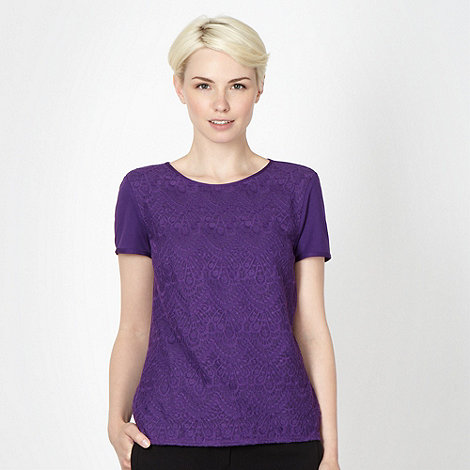 Betty Jackson.Black - Designer purple lace top