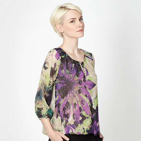Betty Jackson.Black - Designer beige floral chiffon top