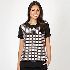 Betty Jackson.Black - Designer pale pink check printed blouse