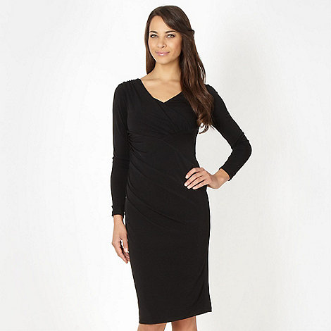 Betty Jackson.Black - Designer black asymmetric tucked jersey cocktail dress
