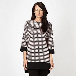 Betty Jackson.Black - Designer pale pink checked tunic