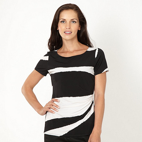 Betty Jackson.Black - Designer black block striped top