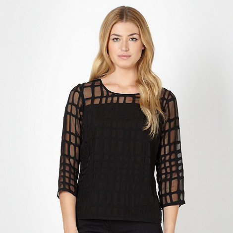 Betty Jackson.Black - Designer black burnout top