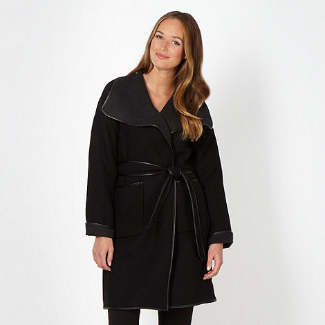 Betty Jackson.Black - Designer black PU trim coat
