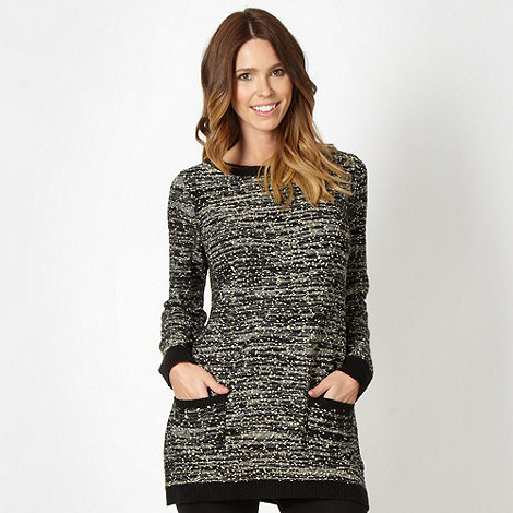 Betty Jackson.Black - Designer black metallic knit tunic