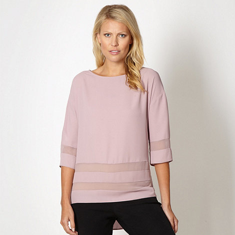 Betty Jackson.Black - Designer pink sheer panel top