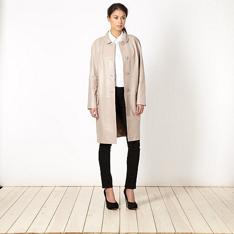Betty Jackson.Black - Designer dark cream leather coat