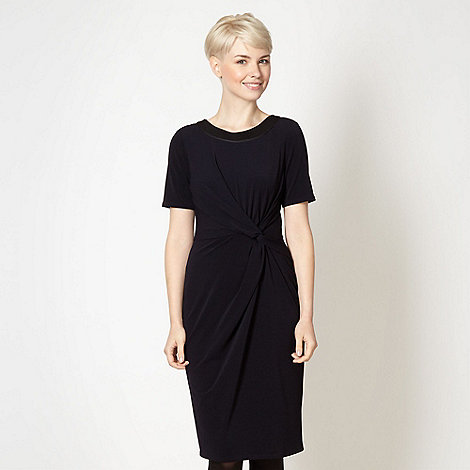 Betty Jackson.Black - Designer navy twist front crepe dress