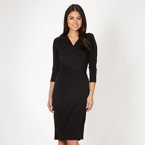 Betty Jackson.Black - Designer black asymmetric draped jersey cocktail dress
