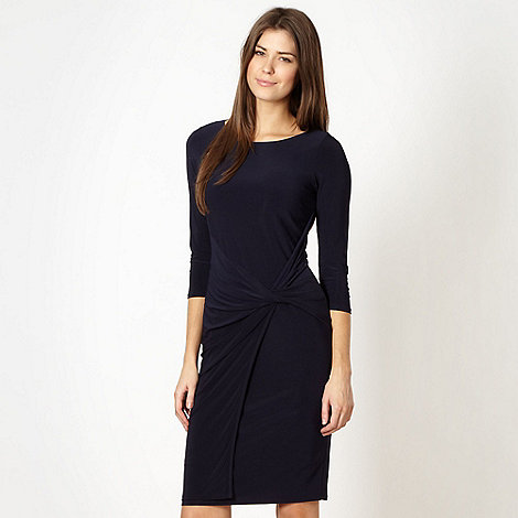 Betty Jackson.Black - Designer navy twist front jersey dress