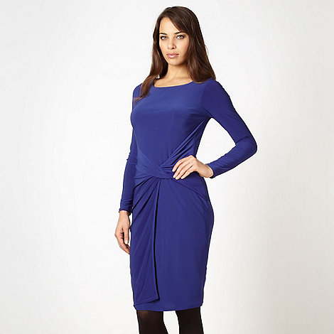 Betty Jackson.Black - Designer royal blue knot front jersey dress